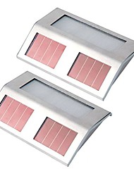 Solar Powered LED White Light Pathway Path Step Stair Wall Mounted Garden Lamp (2-Pack)