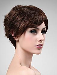 Capless 100% Human Hair Wig Short High Quality Natural Look Dark Brown Curly Hair Wig