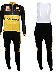 Kooplus- Mens Winter Long-Sleeve Fleece Cycling Suits with BIB Shorts (Yellow)