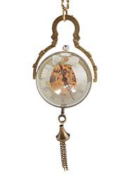 liga dos homens mecânico relógio de bolso de quartzo oco gravura (bronze)