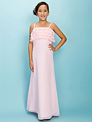 Lanting Bride Floor-length Chiffon Junior Bridesmaid Dress A-line / Sheath / Column Spaghetti Straps Natural with Tiers