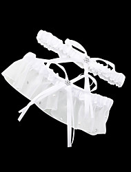 Garter Satin Bowknot / Rhinestone White