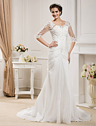 Lanting Bride® Trumpet / Mermaid Plus Sizes / Petite Wedding Dress - Classic & Timeless / Elegant & Luxurious Chapel Train Scoop Taffeta
