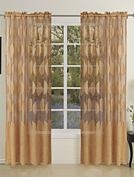 One Panel Country Leaves Jacquard Sheer Curtains Drapes