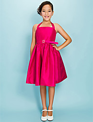 Knee-length Taffeta Junior Bridesmaid Dress Ball Gown / Princess Halter Natural with Draping / Sash / Ribbon / Crystal Brooch