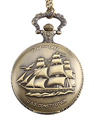 Unisex Sailing Boat Style U.S.S. Constitution Alloy Analog Quartz Pocket Watch (Bronze) Cool Watch Unique Watch Fashion Watch