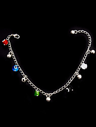Fashion Alloy Anklet with Glass Beads and Bells