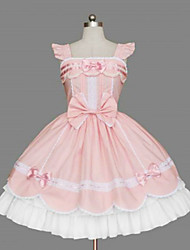 One-Piece/Dress Sweet Lolita Princess Cosplay Lolita Dress Pink Bowknot Sleeveless Medium Length Dress For Women Cotton