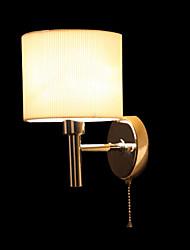 Elegante in metallo 40W e luce della parete in tessuto con 1 Luce in bianco Caratteristica Cilindro