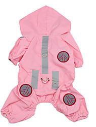 Dog Rain Coat Pink Dog Clothes Summer Spring/Fall Solid Waterproof