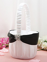 Flower Basket in White Satin With Rhinestone  Flower Flower Girl Basket