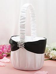 cesta de flores em cetim branco com strass flor cesta de flor menina