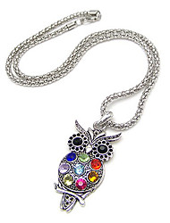 Colorful Owl Alloy Zircon Necklace
