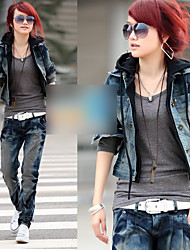 Women's Two Pieces Like Single Breast Denim Jacket