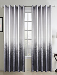 Modern Grey Forest Print Polyester Energy Saving Curtain (Two Panels)