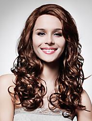 lace front longo de alta qualidade sintético marrom escuro peruca cabelo crespo