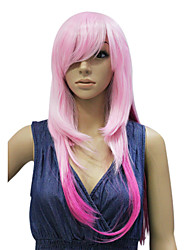 Capless Medium Long Pink Straight Synthetic party Hair wig