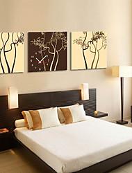 arbre thème horloge murale de style moderne en toile 3pcs