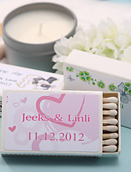 Wedding Décor Personalized Matchboxes - Pink Hearts (Set of 12)