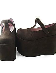 Handmade Coffee PU Leather 12cm Platform Classic Lolita Shoes