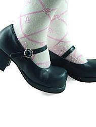 Zapatos Lolita Clásica y Tradicional Lolita Tacón alto Zapatos Un Color 4.5 CM Negro Para Mujer Cuero Sintético/Cuero de Poliuretano
