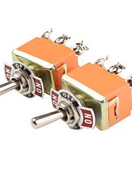 Plastique et de cuivre On-Off-On Commutateurs à bascule (Orange, 2 PCS)