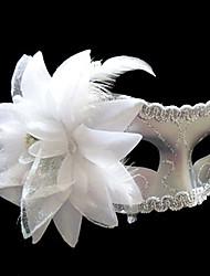 White Yarn Flower Pattern Plastic Half-face Mask