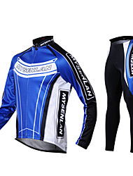 Mysenlan Cycling Jacket with Pants Men's Long Sleeve Bike Jersey Tights Clothing Suits Thermal / Warm Windproof Fleece Lining Wearable