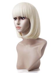 Capless Short Sandy Blonde Straight Heat-resistant Fiber Wigs
