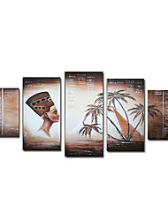 Hand-Painted Landscape / People Five Panels Canvas Oil Painting For Home Decoration