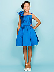 Knee-length Satin Junior Bridesmaid Dress - Royal Blue Ball Gown / A-line Spaghetti Straps