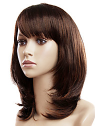 Capless Medium Light Chestnut Brown Wavy Synthetic Wigs