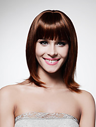 Capless Medium Length High Quality Synthetic Chocolate Brown Bob Style Hair Wig