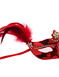 Diamond-studded Feather Red Plastic Half-face Mask