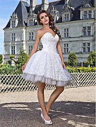 robe de bal sweetheart longueur genou bretelles robe de mariée en dentelle