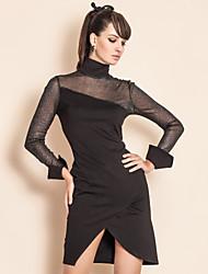 TS точки зрения сетки длинное платье оболочки рукава