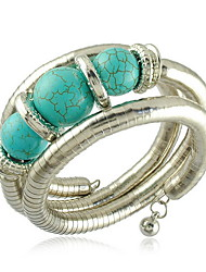 Unique Snake Shaped Alloy With Turquoise Women's Bracelet
