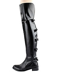 Leather Low Heel Over The Knee Boots With Zipper / Bowknot Party / Evening Shoes