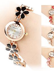 das mulheres liga analógico pulseira relógio de quartzo (ouro)
