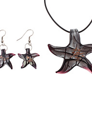 Starfish Pattern Coloured Glaze Earrings Necklace Jewelry Set