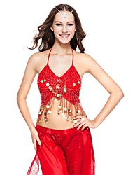 Dancewear Polyester With Gold Coins Performance Bra Top for Ladies More Colors