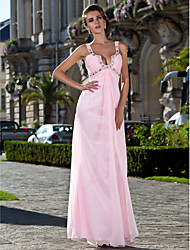 TS Couture® Prom / Formal Evening / Military Ball Dress - Sexy Plus Size / Petite Sheath / Column Straps Floor-length Chiffon with Beading / Side