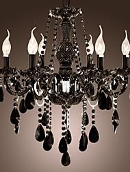 lampadario di cristallo nero moderno 6 luci