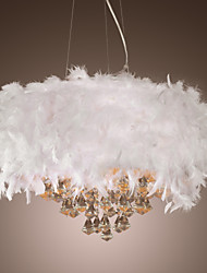 White Feather Chandelier with 3 Lights Crystal Drop Featured