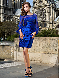 robe de cocktail de retour - plus bleu royal tailles gaine / épuisette colonne court / mini satin stretch / mousseline