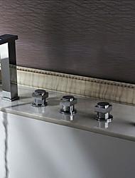 Fini chrome contemporain Deux poignées Robinet LED Color Changing baignoire cascade (Tall)