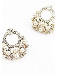 donna semplice moda diamante perla borchie