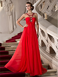 TS Couture Prom Formal Evening Military Ball Dress - Sexy Sheath / Column Straps Floor-length Chiffon withBeading Crystal Detailing