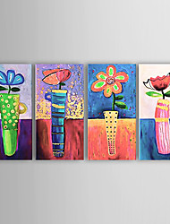 Hand-Painted Floral/Botanical Four Panels Canvas Oil Painting For Home Decoration