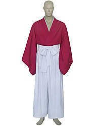 Inspired by Rurouni Kenshin Himura Kenshin Anime Cosplay Costumes Cosplay Suits / Kimono Patchwork White / Red Long SleeveKimono Coat /